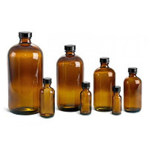 Amber Glass Bottle, 1 oz. Boston Round