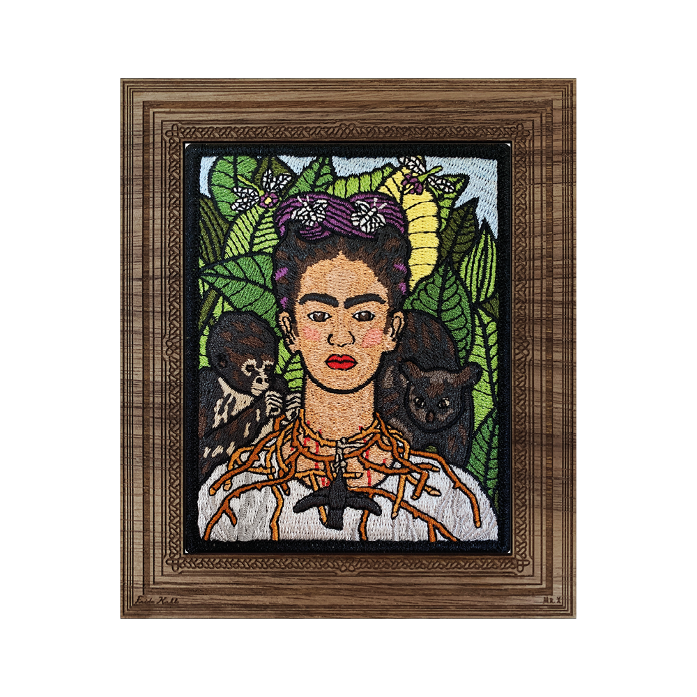Self-Portrait with Thorn Necklace and Hummingbird Patch