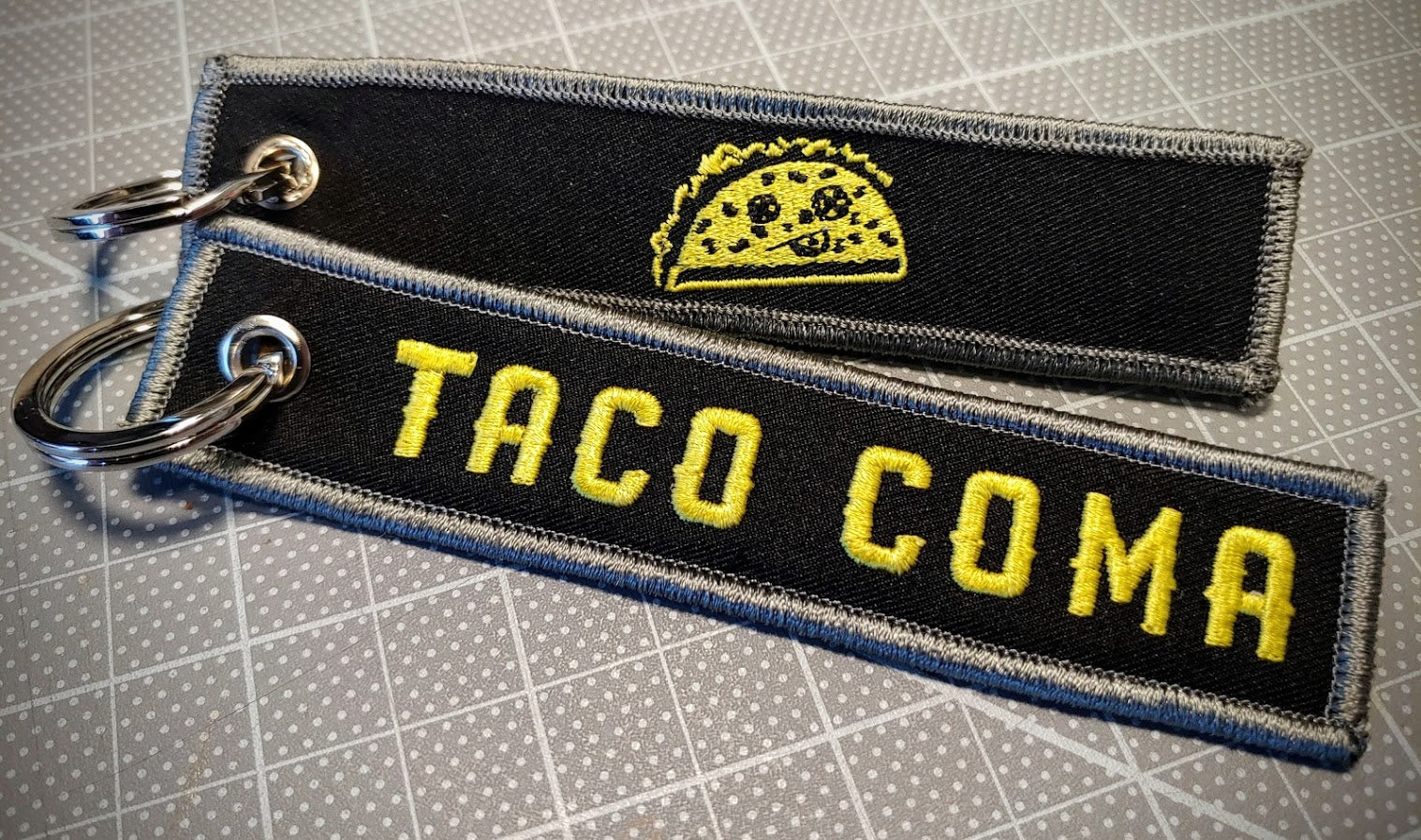 Taco Coma Embroidered Keychain