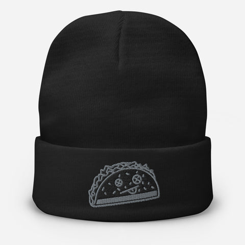 BLACK Taco Embroidered Beanie