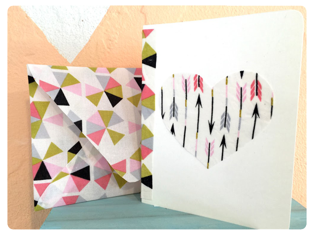 Modern Handmade Fabric Art Valentine's Day Cards