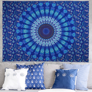 Blue Eye Mandala Tapestry
