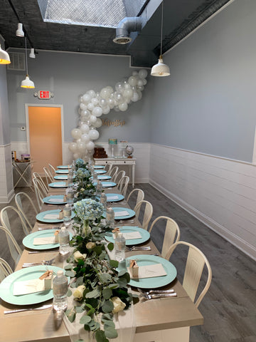 Picture of baby shower decorated event space at Flowerbake in Westchester, Pelham, NY