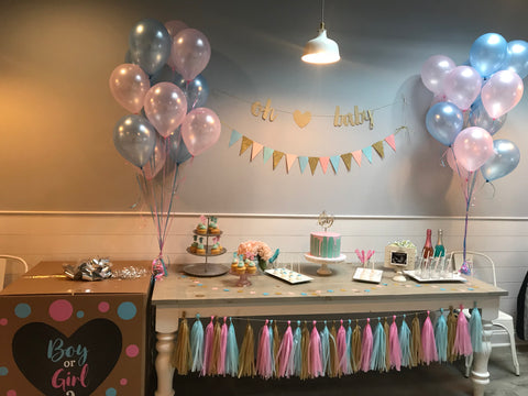 Picture of gender reveal party decorations at Flowerbake by Angela event space in Westchester, Pelham, NY