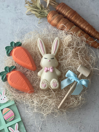 Breakable Chocolate Bunny Rabbit and Carrots