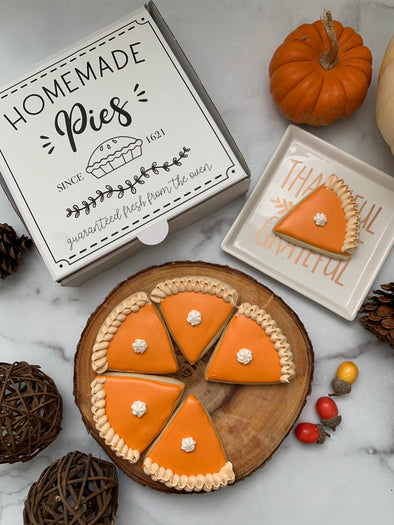 BakesyKit Thanksgiving Pumpkin Pie Puzzle Cookie Kit (Baked)