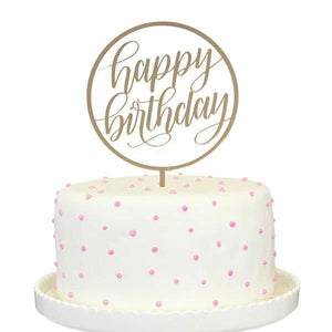 Happy Birthday Cake Topper In Gold Mirror