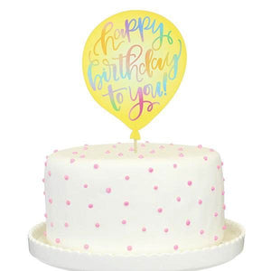 Yellow Birthday Balloon Paper Cake Topper - Flowerbake by Angela