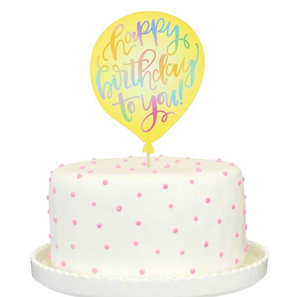 Yellow Birthday Balloon Paper Cake Topper Flowerbake By Angela