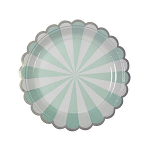 Small Aqua Striped Plate
