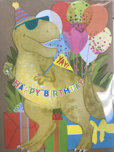 Dinosaur Birthday Cake Card - Flowerbake by Angela