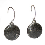 Lagoon Earrings - Black Sand (Low Dome)