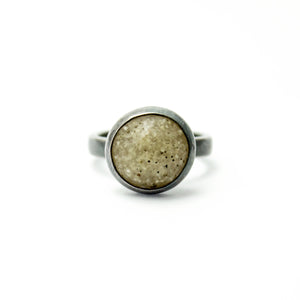 Sand and Silver Ring - Translucent White - Size 6