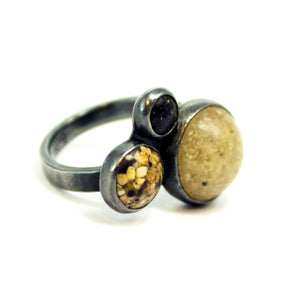 Cluster Sand and Silver Ring - Size 6.5