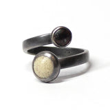 Twisted Open Dot Ring - Black and White - Size 8