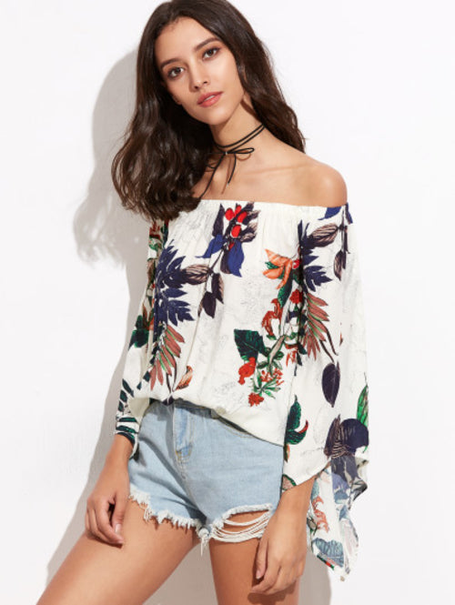 White Tropical Print Off The Shoulder Bell Sleeve
