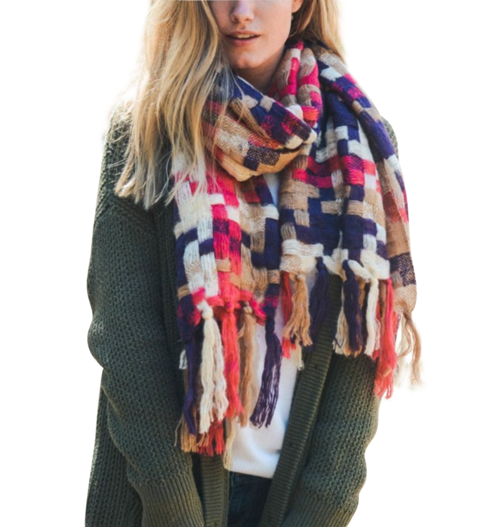 Warm Patchwork Trendy Scarf - Multiple Colors