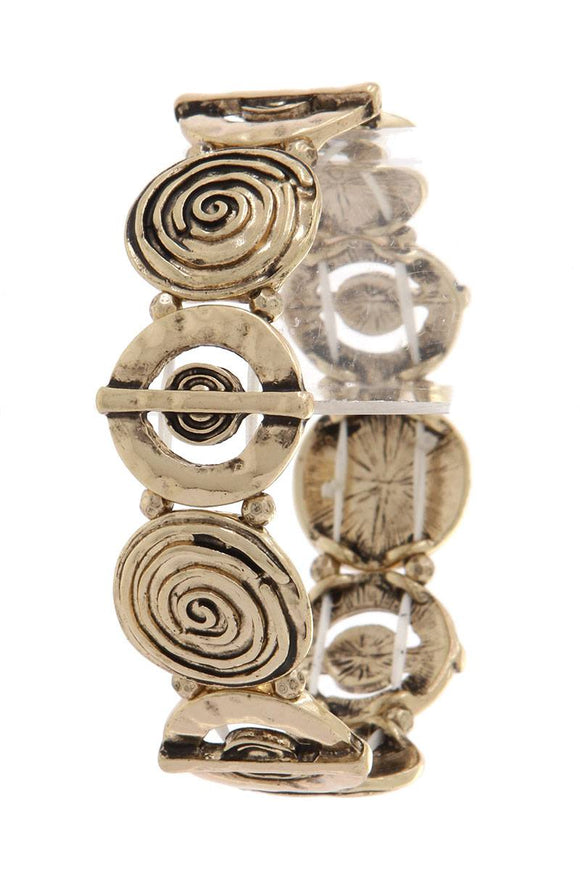 Cut out circle swirl stretch bracelet