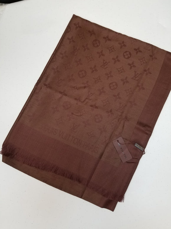 Louis Vuitton MONOGRAM BANDEAU silk scarf Brown
