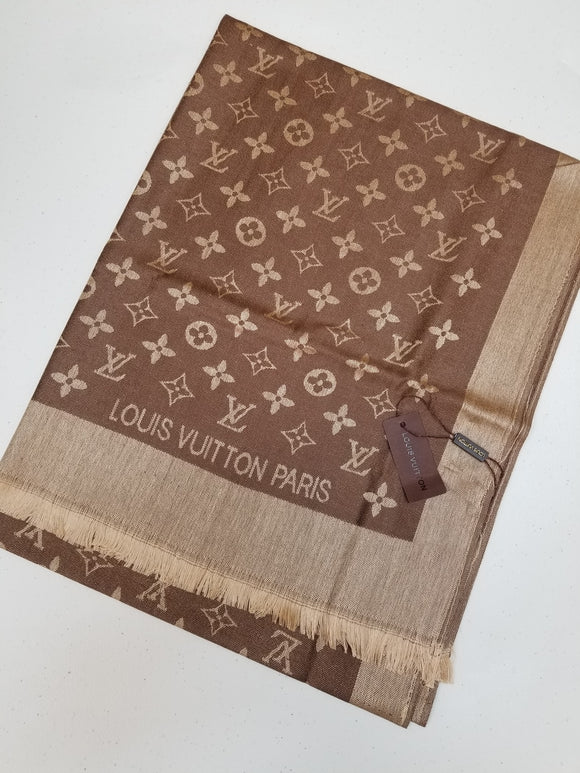 Louis Vuitton MONOGRAM BANDEAU silk scarf Brown Gold