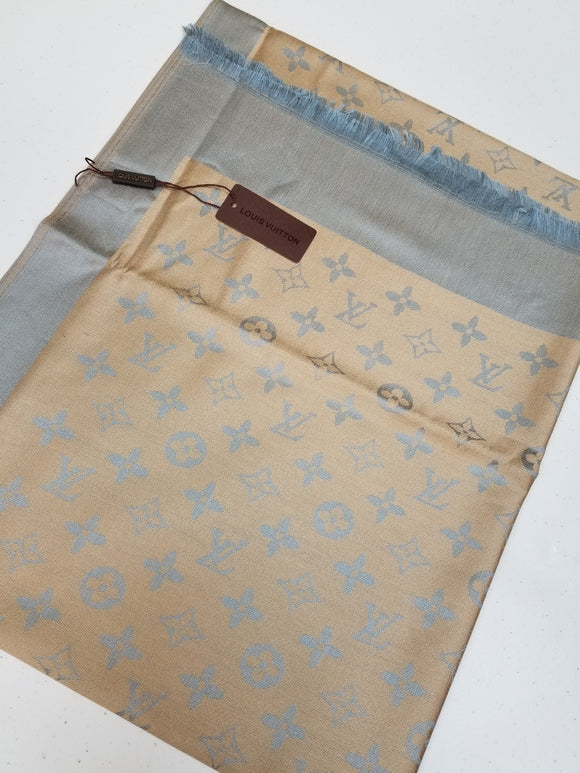 Louis Vuitton MONOGRAM BANDEAU silk scarf Light Blue/Gray