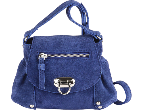 'CHESTER' - Navy Leather Suede Mini Cross Body
