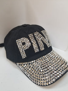 PINK Bling Hat Black