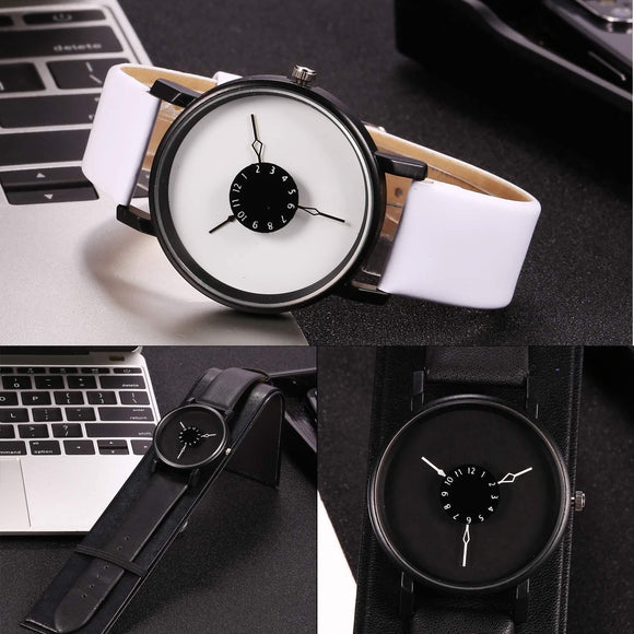 Simple Artificial Design Wrist Band Men Watch Leather Women