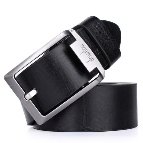Mens Waistband Casual Dress Leather Pin Metal Buckle Belt