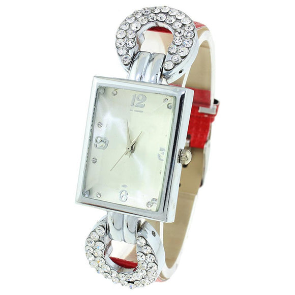 Analog Rhinestone Leather Office Square Synthetic Watch Business Women