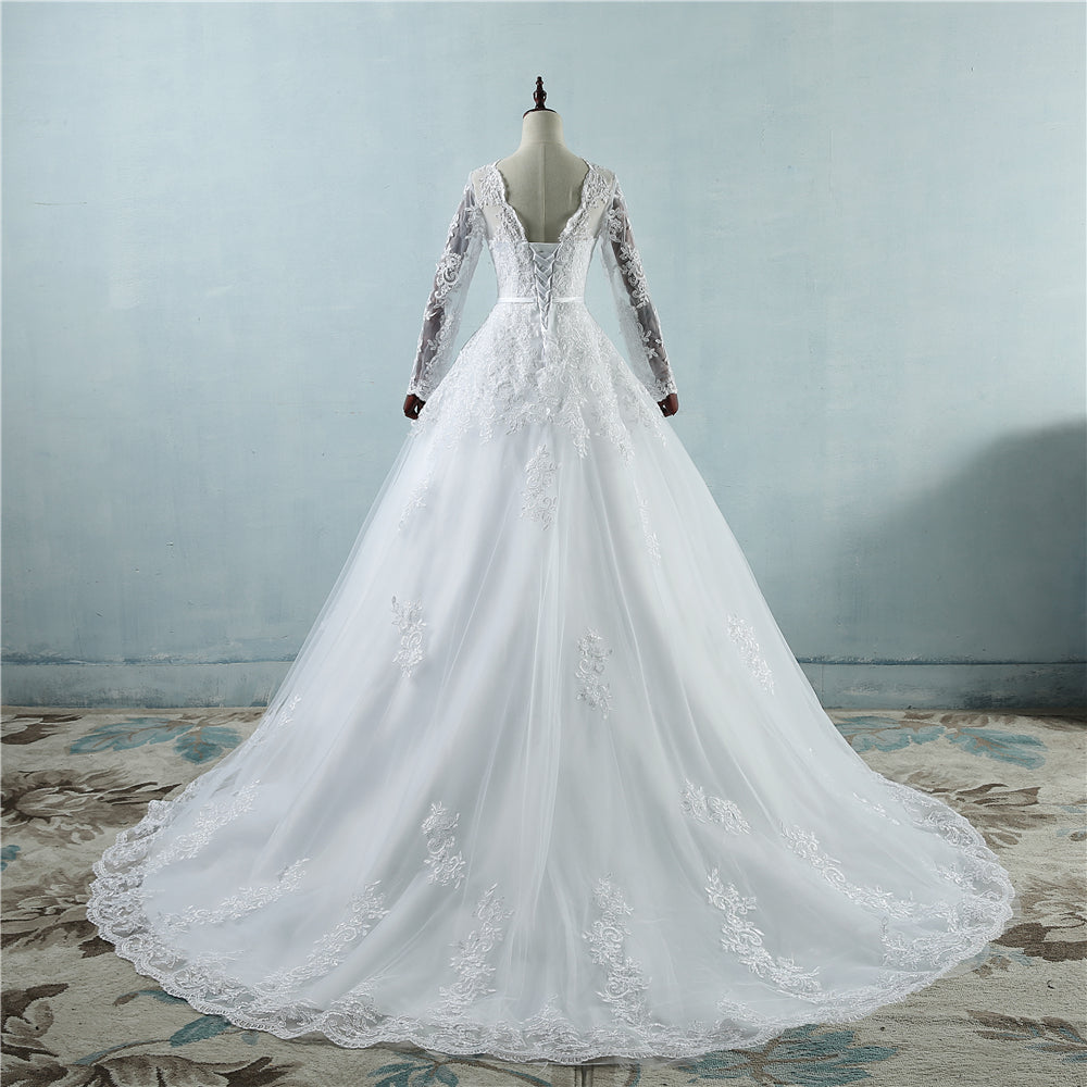 Corset Lace White Wedding Dress WIth Lace Long Train Full sleeve ...