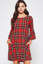 "Load image into Gallery viewer, ""Good Tidings"" Tartan Plaid Dress"