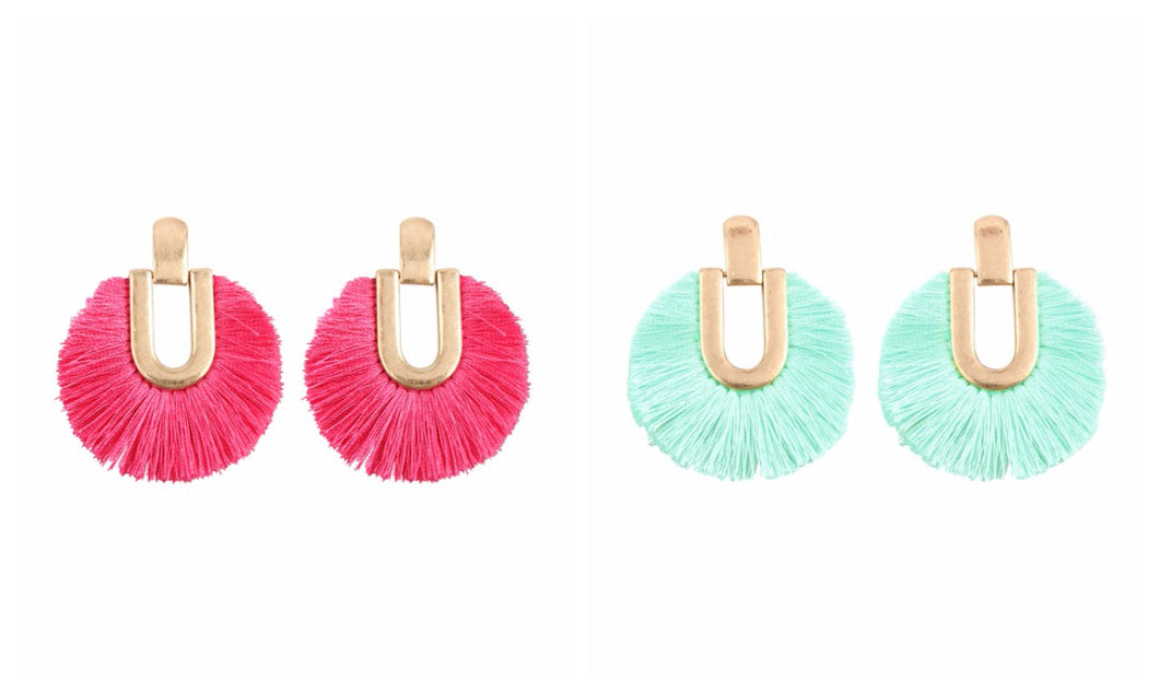 Round Fringe Tassel Post Earrings