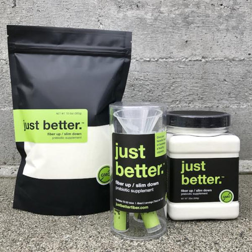INTRO Fiber Starter Kit: TO GO Tube Kit + 300g EZ Grip Recyclable Container just better.® prebiotic supplement + 300g Refill Pouch