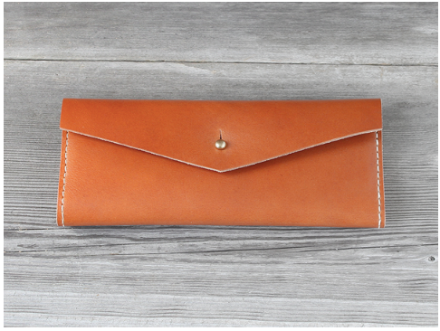 Caramel Leather Long Wallet