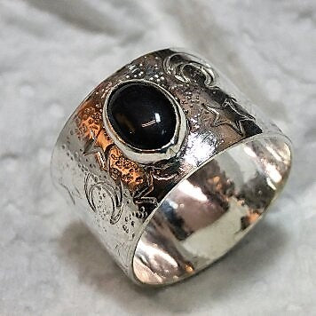 Sterling celestial elements ring with Onyx