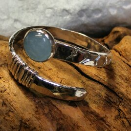 Sterling and aquamarine wrap ring