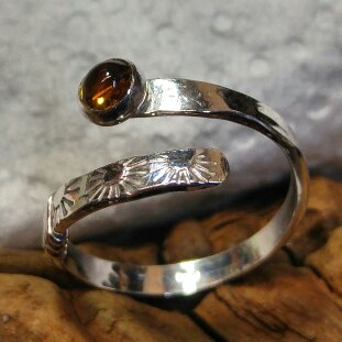 Sterling and brandy citrine wrap ring with sunburst texture