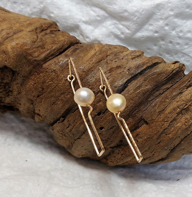 Geometric 14k goldfill earrings - freshwaterpearl