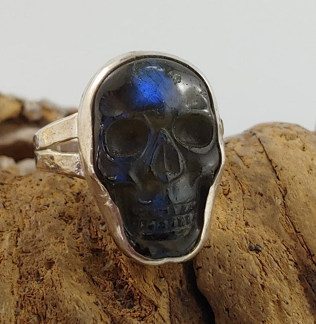 Carved Labradorite Skull Ring