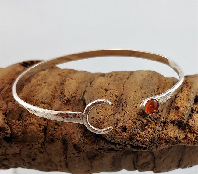 Crescent moon cuff with Amber