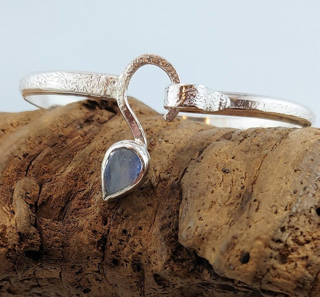 Hammered S-clasp bracelet with Rainbow Moonstone