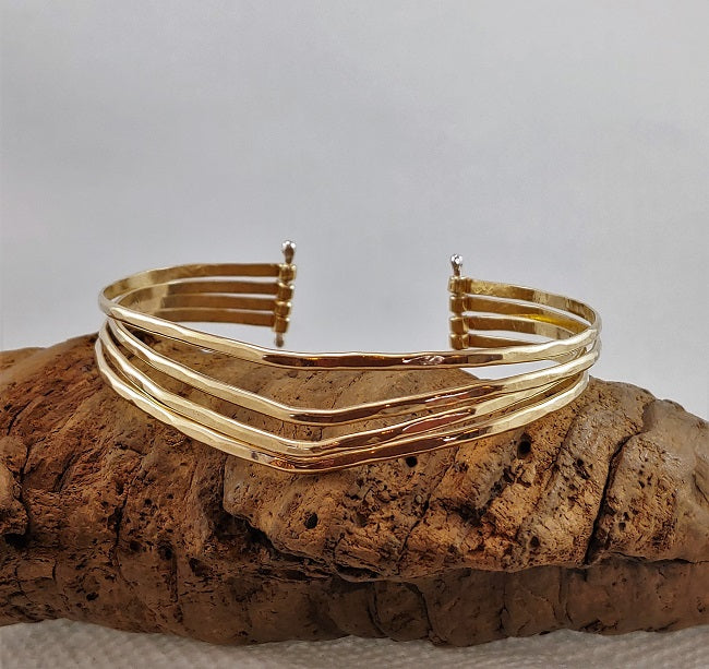Multistrand pin bracelet in 14k goldfill
