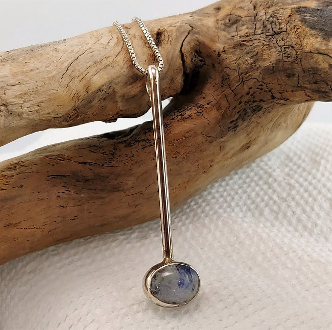 Long drop pendant - Rainbow Moonstone