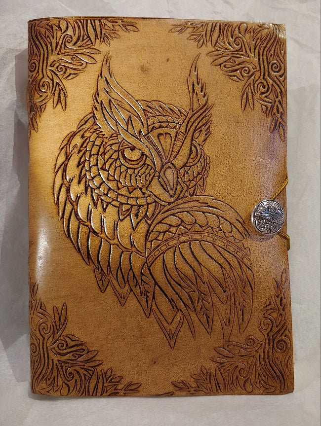 Owl blank leather journal