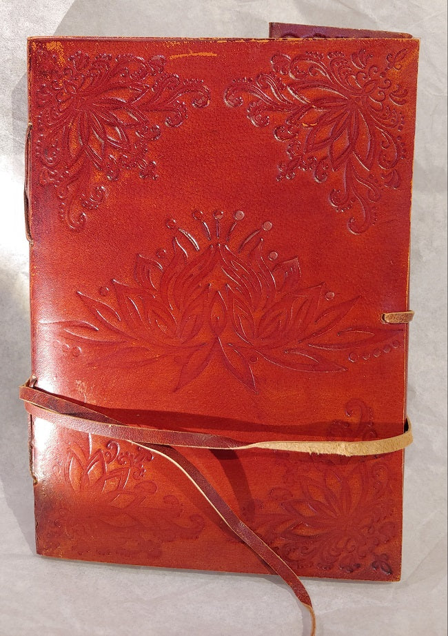 Leather notebook - lotus - blank