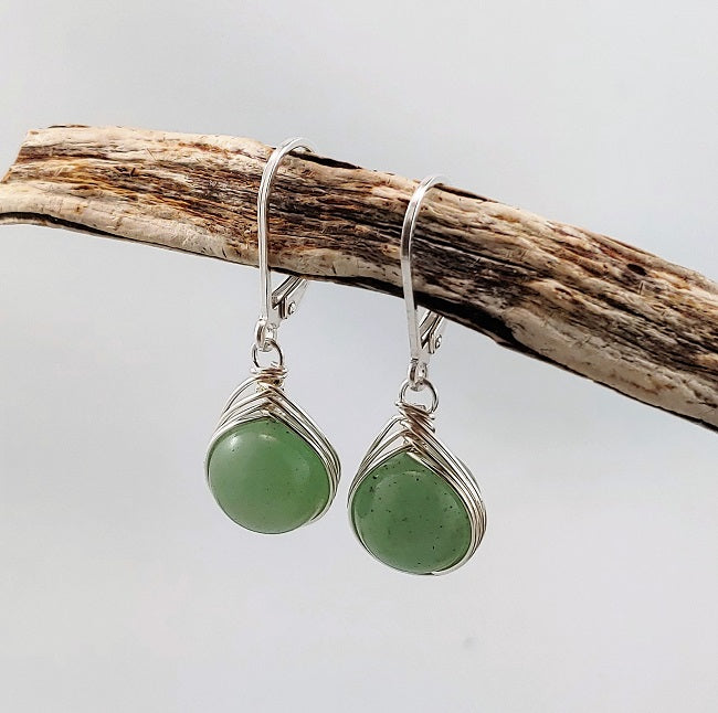 Aventurine leverback earrings