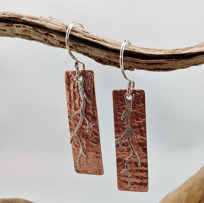 Hammered copper earrings with sterling branch