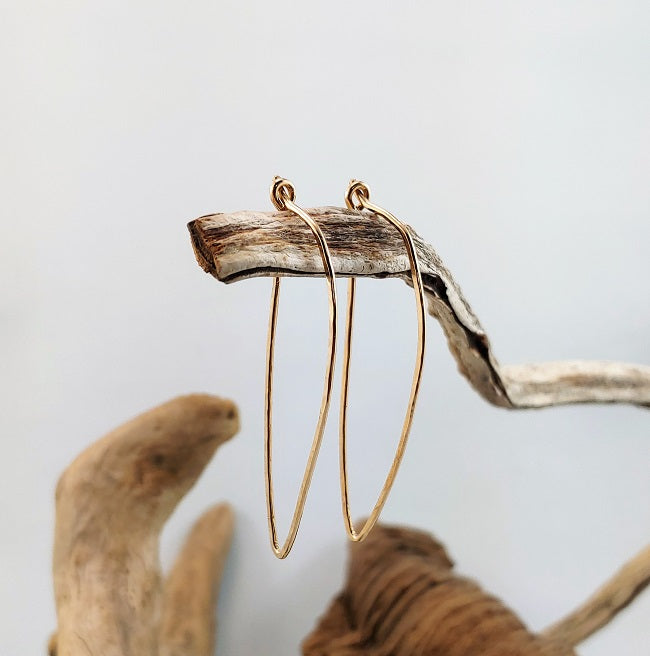 Hammered 14k goldfill tribal hoops