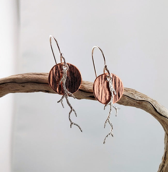 Silver Copper disc earrings with branch
